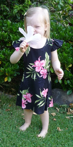 Girls Hawaiian Dress Orchid Fern in Black