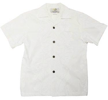 Boys Hawaiian Shirt Hibiscus Panel in White