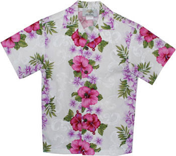 Boys Hawaiian Shirt Plumeria Panel