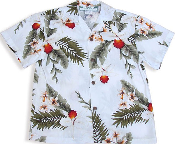 Two Palms Boys Shirt Hawaiian Orchid in White