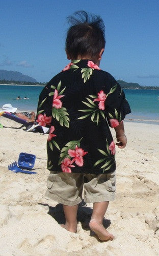 Two Palms Boys Hawaiian Shirt Orchid Fern in Black