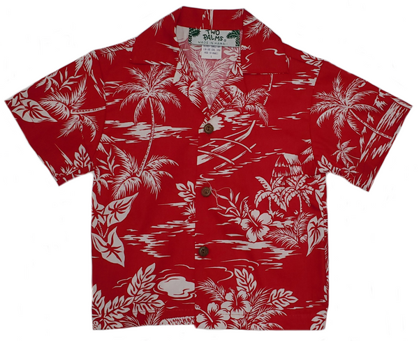 Boys Hawaiian Shirt Love Shack Red