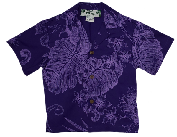 Boys Hawaiian Shirt Monstera Ceres Purple
