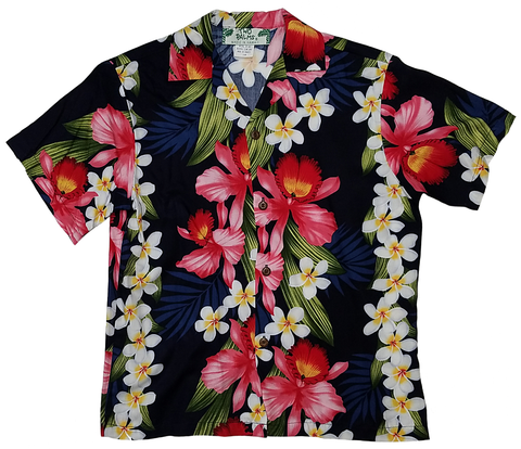 Boys Shirt Plumeria Orchid Panel Navy