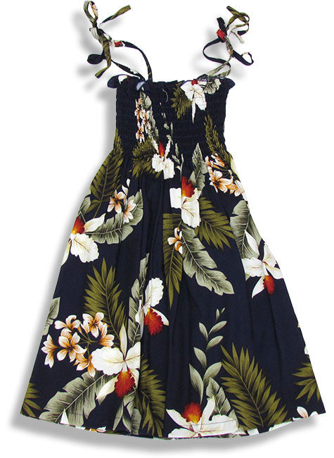 Girls Elastic Tube Top Dress Hawaiian Orchid Navy