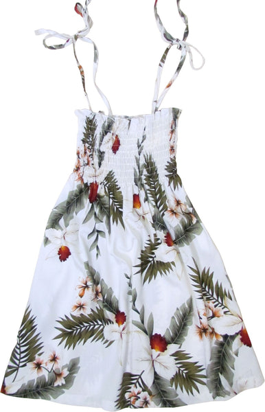 Girls Elastic Tube Top Dress Hawaiian Orchid White