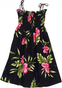 Girls Elastic Tube Top Dress Orchid Fern Black