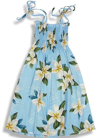 Girls Elastic Tube Top Dress Plumeria Shower Light Blue