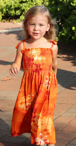 Girls Elastic Tube Top Dress Moonlight Scenic Orange