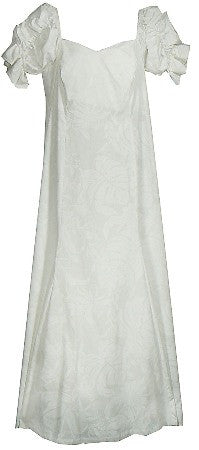 Long Hawaiian Dress Makapuu White 2003C