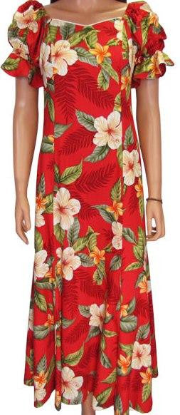 Elegant Hawaiian Dress Leilani in Red