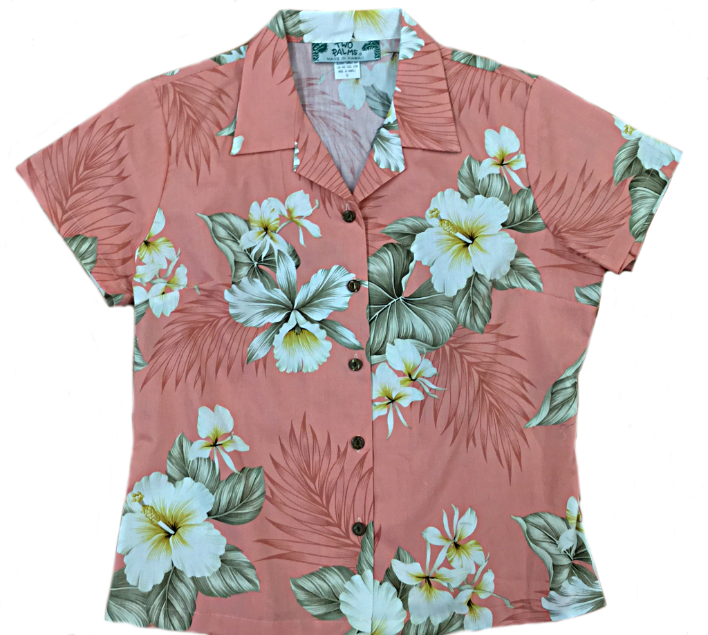 Hibiscus Trends Coral 100% Cotton