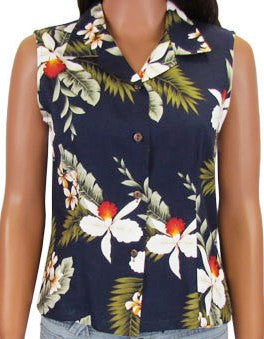 Sleeveless Blouse Hawaiian Orchid Navy