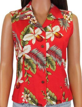 Sleeveless Blouse Hawaiian Orchid Red
