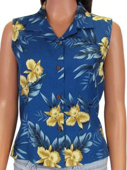 Sleeveless Blouse Orchid Fern Blue