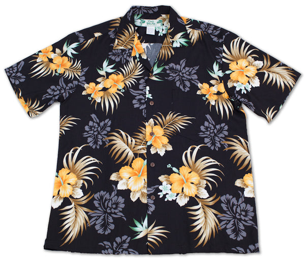 Hawaiian Shirt Fern Hibiscus Black