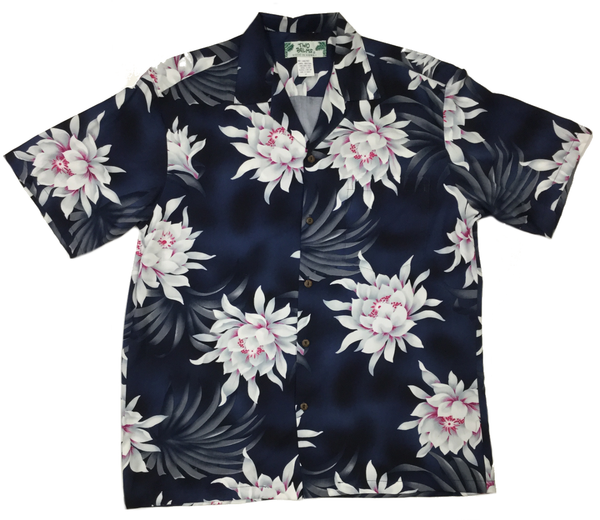 Hawaiian Shirt Night Blooming Black