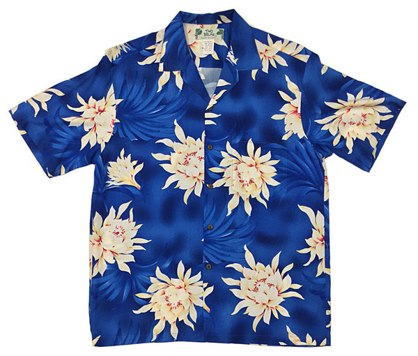 Hawaiian Shirt Night Blooming Royal