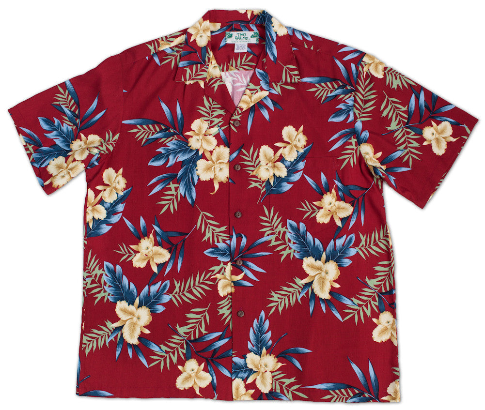 Hawaiian Shirt Orchid Fern Red