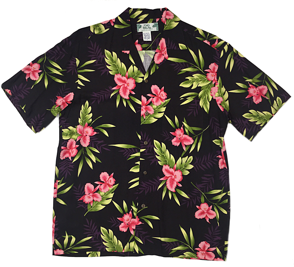 Hawaiian Shirt Orchid Fern Black Two Palms Hawaiian Wear Made In