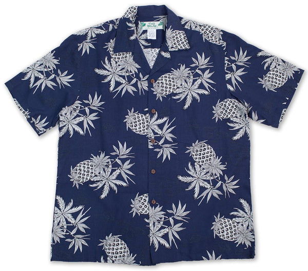 Hawaiian Shirt Pineapple Map Navy