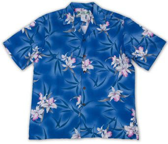 Hawaiian Shirt Midnight Orchid Blue