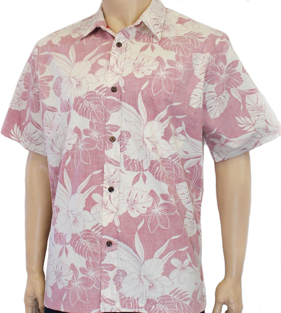 Reverse Print Shirt Monstera Hibiscus Red
