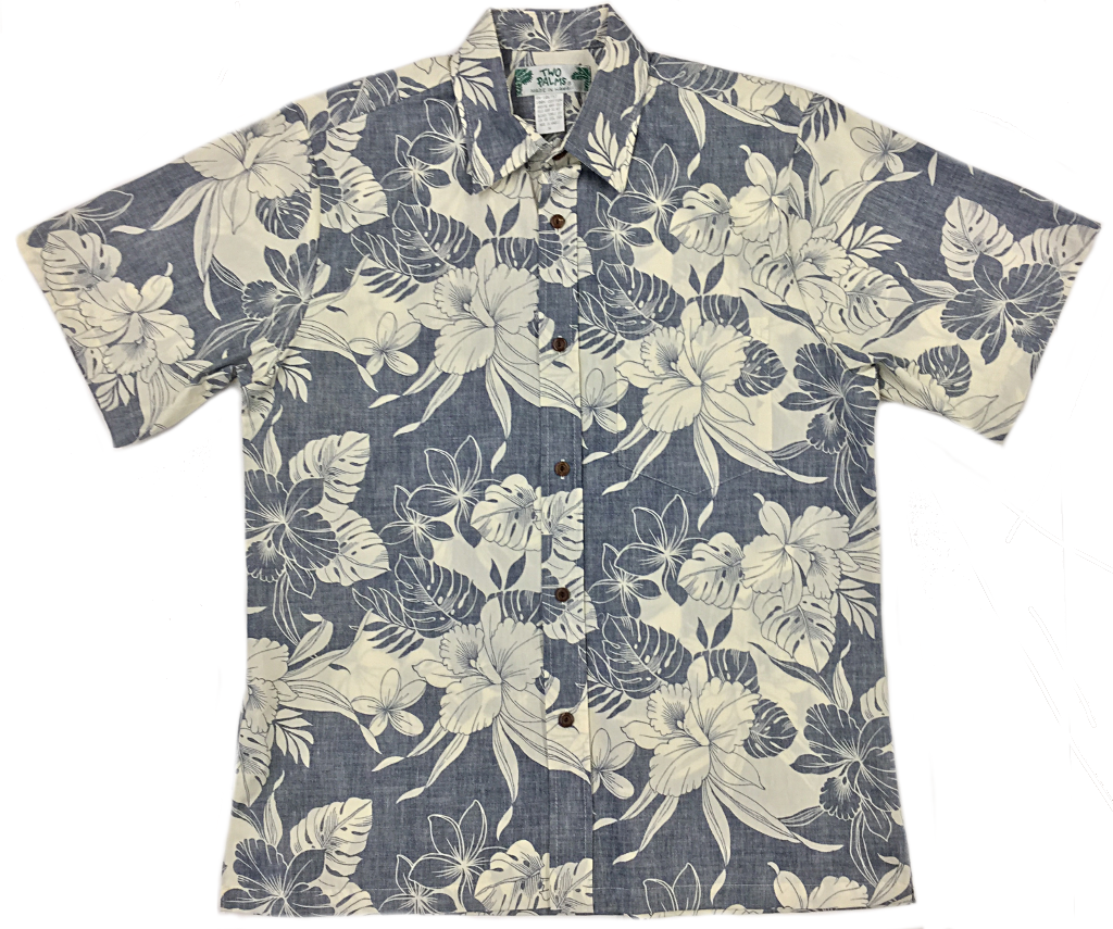 Reverse Print Shirt Monstera Hibiscus Navy