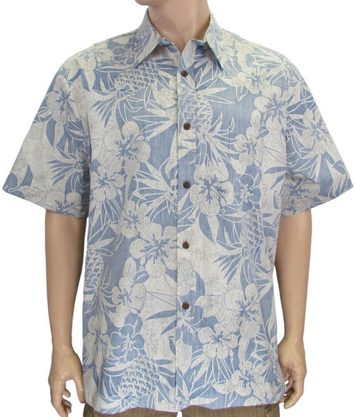 0bb0bc81 Reverse Print Shirt Pineapple Garden in Navy – Two Palms Hawaiian Wear Made  in Hawaii, USA