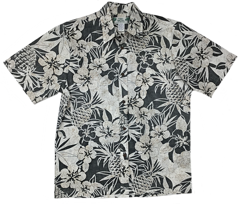 Reverse Print Shirt Pineapple Garden in Black
