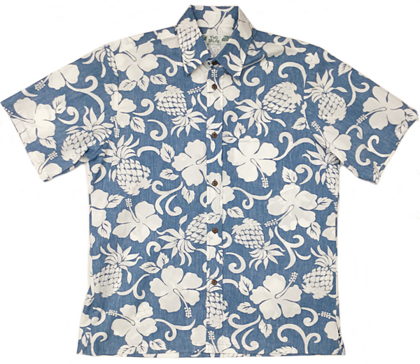 Reverse Print Pineapple Pareau Blue