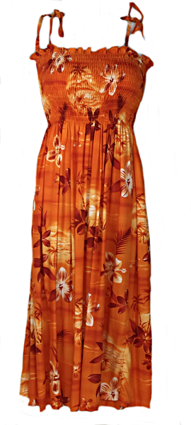 Tube Top Dress Moonlight Scenic Orange
