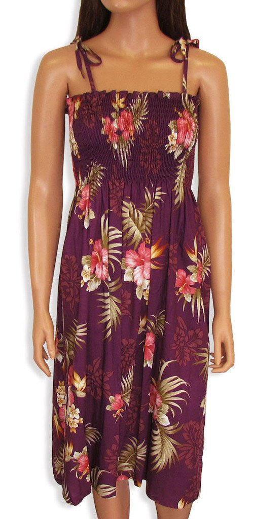 Two Palms Tube Top Dress Fern Hibiscus Purple