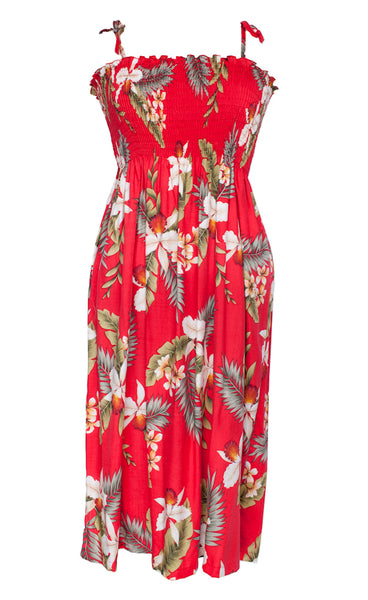 Tube Top Dress Hawaiian Orchid Red