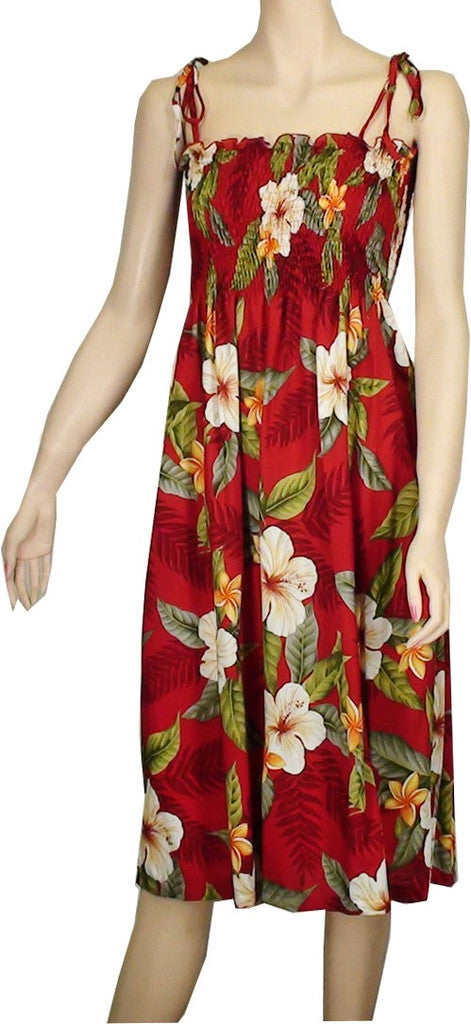 Hawaiian Spaghetti Strap Dress Elastic Tube Top Leilani in Red