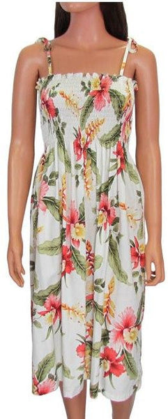 Hawaiian Spaghetti Strap Dress Elastic Tube Top Sonic in Beige