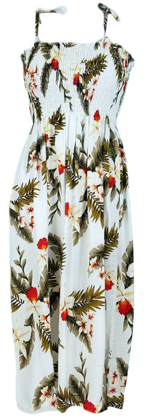 Tube Top Dress Hawaiian Orchid White