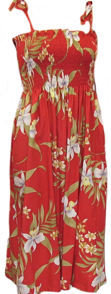 Tube Top Dress Pali Orchid Red