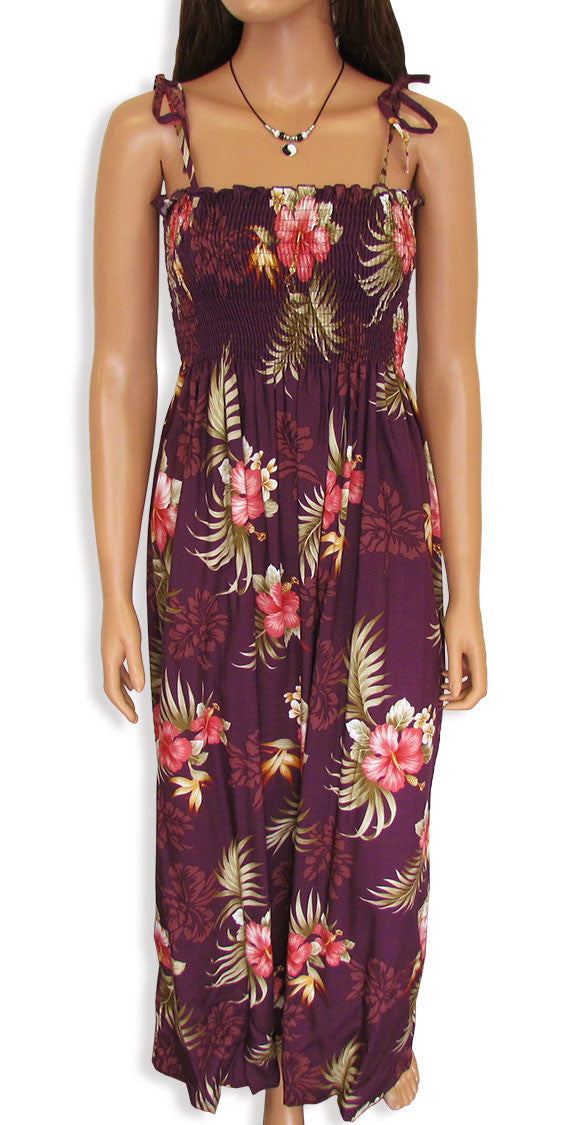 "Tube Top Dress Fern Hibiscus Purple 45"" Length"