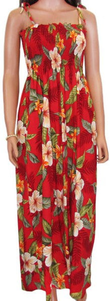 610R-L-Red-Hawaiian Tube Dress - Leilani