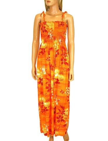 Long Tube Top Dress Moonlight Scenic Orange
