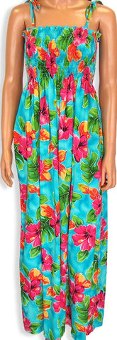 Tube Top Dress Hibiscus Watercolors Blue