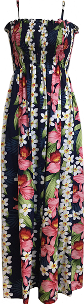 Tube Top Dress Plumeria Orchide Panel Navy