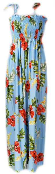 Long Tube Top Dress Monstera Light Blue