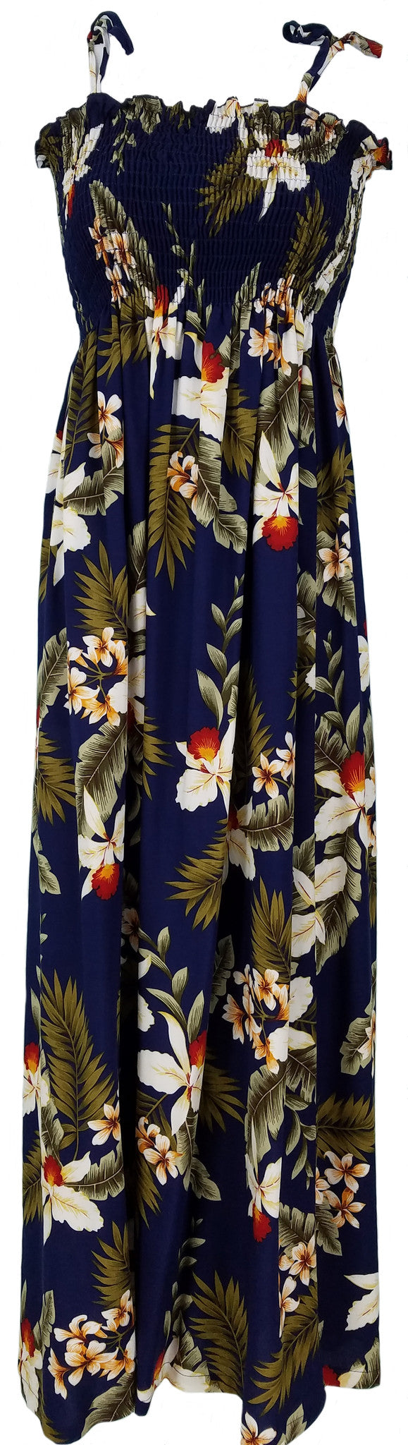 Tube Top Dress Hawaiian Orchid Navy
