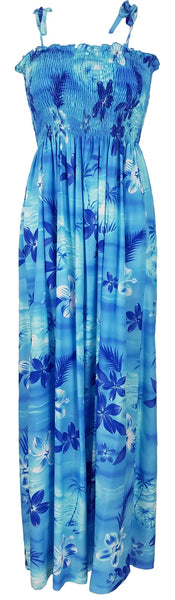 Long Tube Top Dress Moonlight Scenic Blue
