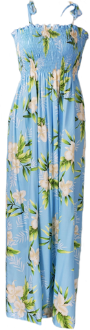 Long Tube Top Dress Orchid Fern Light Blue