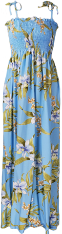 Long Tube Top Dress Pali Orchid Light Blue