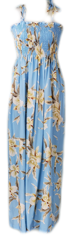 Long Tube Top Dress Retro Orchid Light Blue