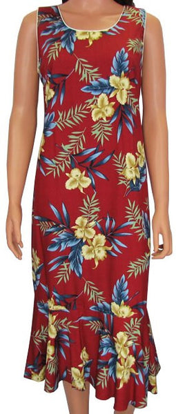Hawaiian Dress Orchid Fern Red 701-2R